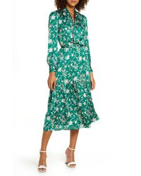 Chelsea28 Chelsea 28 Floral Long Sleeve Satin Shirtdress - Green