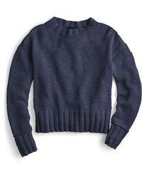J.Crew - J.crew Erica Heathered Cotton Wide Rib Crewneck Sweater - Lyst