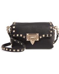 Valentino Rockstud Mini Calfskin Leather Crossbody Bag - Natural