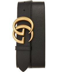 Gucci - Marmont Logo Leather Belt - Lyst