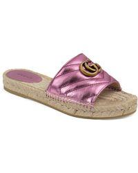 Gucci Pilar Espadrille Slide Sandal - Pink