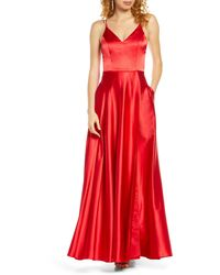 Sequin Hearts Double Strap Satin Evening Gown - Red