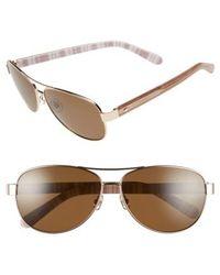 Kate Spade - 'dalia' 58mm Polarized Aviator Sunglasses - Light Gold - Lyst
