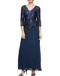 Alex Evenings Petite Size Sequin Lace Bodice V-neck 34 Sleeve Chiffon Gown - Blue