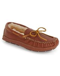 Minnetonka   Genuine Shearling Lined Leather Slipper   Lyst