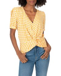 Kut From The Kloth Angelica Gingham Twist Front Top - Yellow