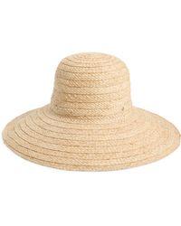 Kate Spade Stripe Underbrim Raffia Sun Hat - Black