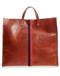 Clare V. - Rustic Simple Stripe Leather Tote - Lyst