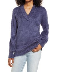 BP. Deep V-neck Fuzzy Tunic Sweater - Blue