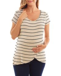 Everly Grey Jonelle Stripe Nursing/maternity Top - Natural