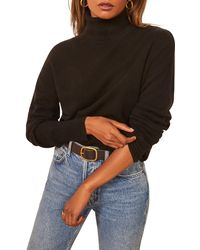 Reformation Cashmere Boyfriend Turtleneck Sweater - Black