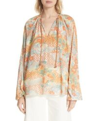 Elizabeth and James - Chance Floral Print Silk Top - Lyst