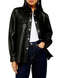 TOPSHOP Leather Shirt - Black