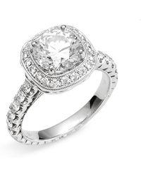 Jack Kelége 'romance' Cushion Set Diamond Engagement Ring Setting - White