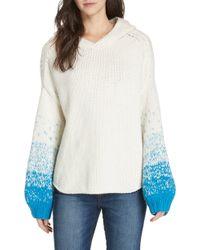 Brochu Walker Alvino Balloon Sleeve Hooded Sweater - White