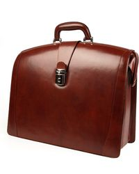 Bosca Triple Compartment Leather Briefcase - Brown
