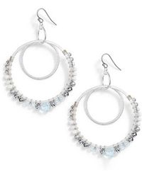 Chan Luu - Semiprecious Stone Double Hoop Drop Earrings - Lyst
