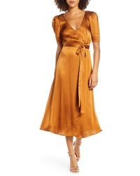 Fame & Partners - Francesca Wrap Midi Dress - Lyst