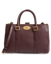 Mulberry | Small Bayswater Double Zip Leather Satchel - Burgundy | Lyst