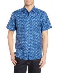 Tori Richard Sand Dollar Print Linen Blend Short Sleeve Button-up Shirt - Blue