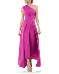 Kay Unger One-shoulder Sleeveless Crepe Jumpsuit W/ Skirt Overlay - Pink