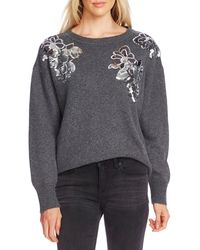 Vince Camuto Sequin Floral Cotton Blend Sweater - Gray