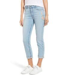 Jen7 - Embroidered Slim Boyfriend Jeans - Lyst