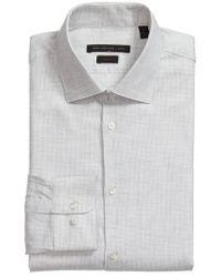 John Varvatos   Slim Fit Microcheck Dress Shirt   Lyst