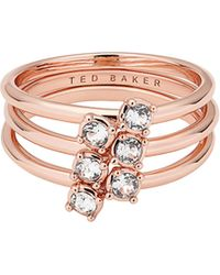 Ted Baker - Elwyn Princess Sparkle 3-piece Stack Rings - Lyst