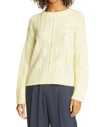 Vince Open Cable Knit Wool & Cashmere Blend Sweater - Natural