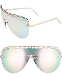 Rad & Refined Crystal Embellished Rainbow Shield Sunglasses - Crystal/ Multi - Metallic
