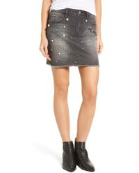Tinsel Imitation Pearl Detail Skirt - Gray
