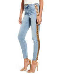 Blank NYC The Bond Snake Stripe Skinny Jeans - Blue