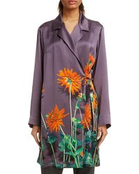 Dries Van Noten Calberta Dahlia Print Silk Robe Jacket - Purple