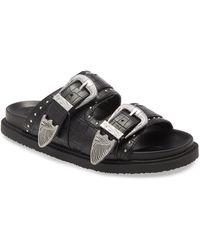 TOPSHOP Peru Black Buckle Footbed Sandals