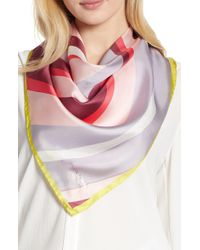 Kate Spade Concentric Spade Silk Square Scarf - Pink