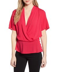 388e0d43cdc6fb Chelsea28 - Side Button Textured Satin Wrap Top - Lyst