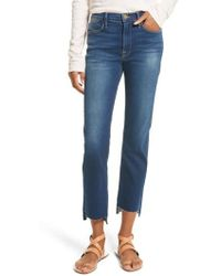 FRAME | Le High Straight High Waist Raw Stagger Jeans | Lyst