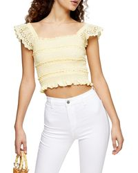 TOPSHOP Shirred Frill Sleeve Top - Yellow