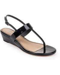 Splendid Swain T-strap Wedge Sandal - Black