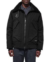 Canada Goose Bromley Slim Fit Down Bomber Jacket With Genuine Shearling Collar - Black
