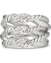 David Yurman - Continuance 3-row Ring With Diamonds - Lyst