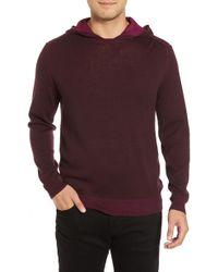 Bugatchi Hooded Pullover Sweater - Purple