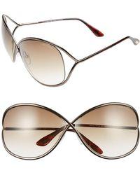 59a8644e47d8 Tom Ford - Miranda 68mm Open Temple Oversize Metal Sunglasses - - Lyst