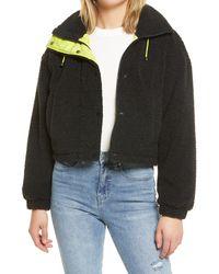 BP. Neon Faux Shearling Bomber Jacket - Black