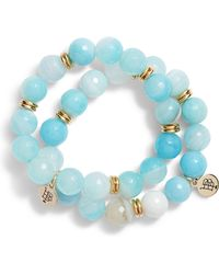 Bourbon and Boweties - Set Of 2 Agate Beaded Stretch Bracelets - Lyst