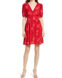 Chelsea28 Floral Button Front Dress - Red