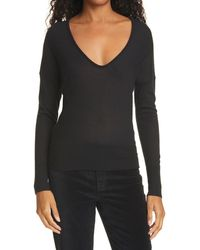 Rag & Bone Mandee Cashmere U Neck Relaxed Fit Sweater - Black