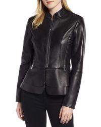 Tahari - Thea Peplum Hem Leather Jacket - Lyst