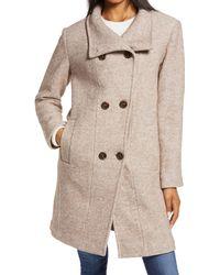 Ellen Tracy Double Breasted Wool Blend Coat - Multicolor